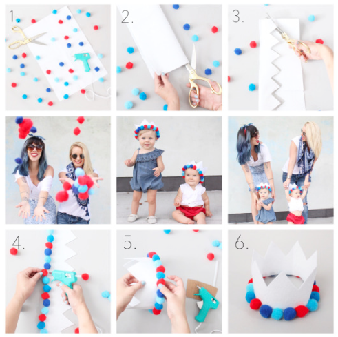 – DIY – 4TH OF JULY POM POM CROWN